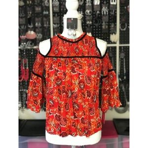 NEW! Xhiliration Red Floral Open Shoulder Top